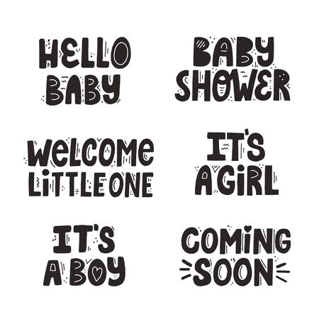 Set of different isolated newborn quotes. BAby shower, it's a boy etc. Hand drawn vector lettering for newborn textile and cards design.  イラスト・ベクター素材