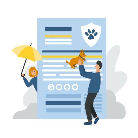 Huge pet insurance blank. Man holding a dog, woman holding umbrella. Pet insurance concept for banner, flyer, web. 스톡 콘텐츠 - 140727451