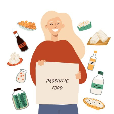 Concept with a happy girl choosing fermented foods, drinks and milk dairies. Set of food containing probiotics. Hand drawn vector illustration for an article, card.