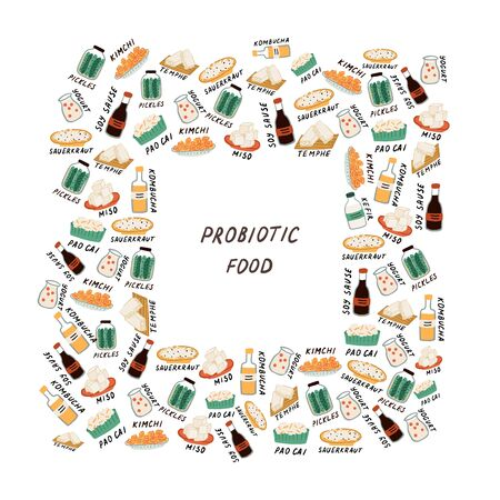 Concept with probiotic foods. Square frame with space for text. Fermented foods and milk daires. Concept of healthy food for strong immune system and weight loss