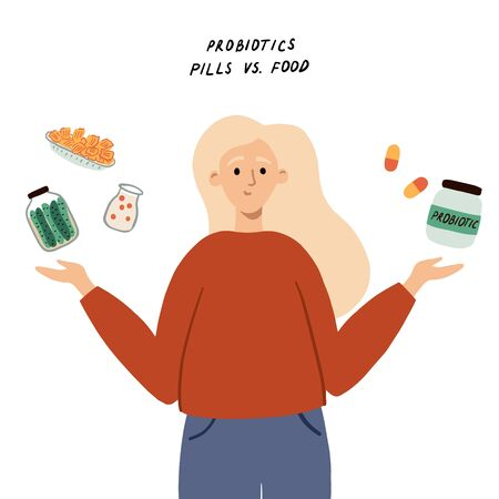 Young woman choosing between different sources of probiotics. Concept with choice between fermented foods and probiotic supplements, peels. Hand drawn vector illustration for article, banner, web