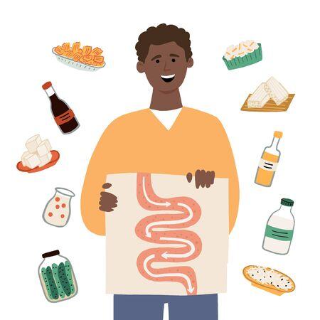 Man choosing food that contains probiotics for good digestion. Hand drawn vector illustration. Probiotics food concept for article, banner, landing. Illustration