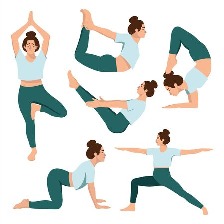 Female in a blue t -shirt and leggins practicing yoga. Different isolated yoga poses on white background. Hand drawn flat coloured vector illustartion.