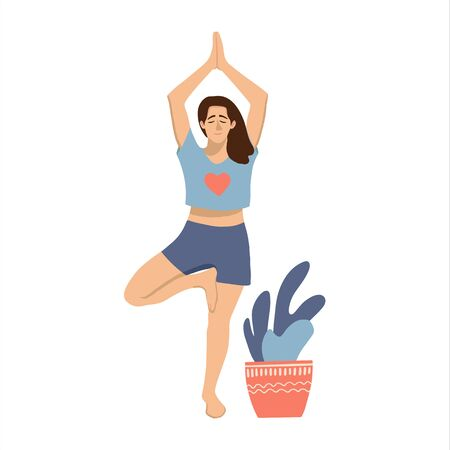 Female in  in a tree yoga pose with a plant. Woman in a blue t-shirt practicing yoga. Hand drawn coloured vector illustation. Gym, pilates, yoga classes isolated design element.