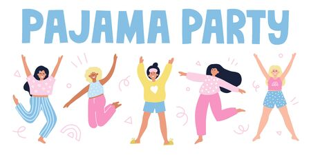 Pajama party banner. HAppy girls in pajamas. Sleepover party concept.