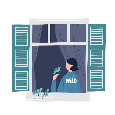 Girl in a window feeding birds. Hand drawn vector illustration. Stay home concept. Self isolation during quarantine