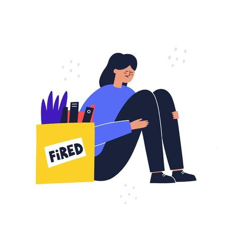 Sad woman sitting near box with her stuff after dismissal. Fired employee concept. HAnd drawn vector illustration Vektorové ilustrace