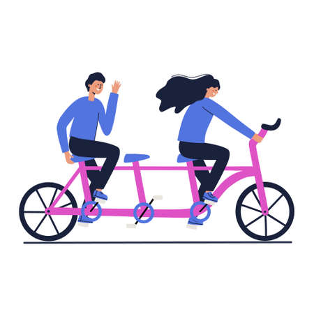 Friends riding a tandem bicycle. Keep distance concept. Hand drawn vector illustration