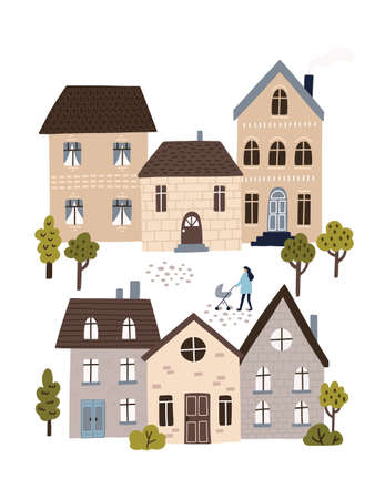 Town street with cute houses and trees. Woman walking with a stroller. Calm neighborhood concept. HAnd drawn vector illustration.