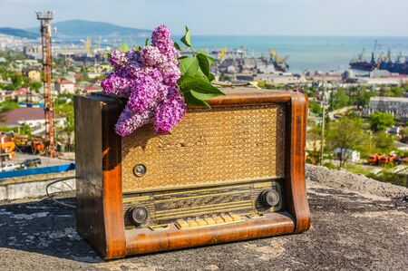 Old radio with lilac flowers on the roof of the house against the backdrop of the city