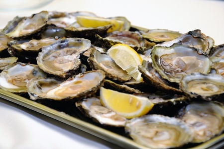 appetizer - oysters with lemon on a tray