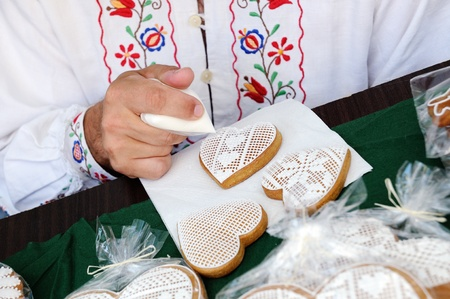 traditional gingerbread decorating Stock Photo