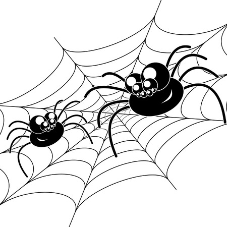 Two amusing black spiders on web. Isolated on white background. Stock Vector - 8008936