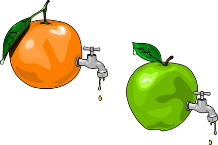 directly: Apple juice and orange juice fruit branch tap Directly