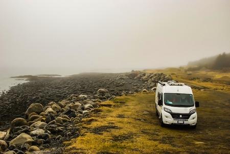 camper in the fog