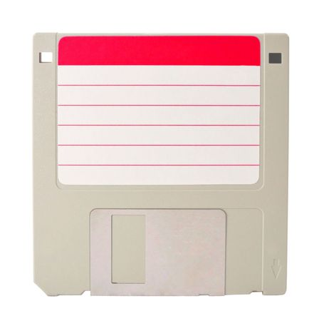 A gray diskette with a blank red label