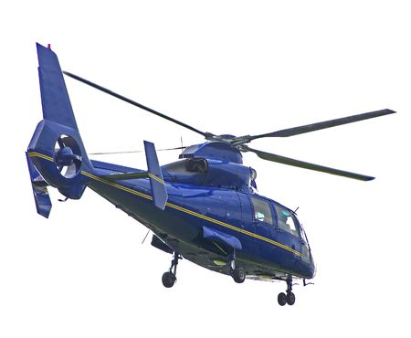 A blue helicopter isolated on white background
