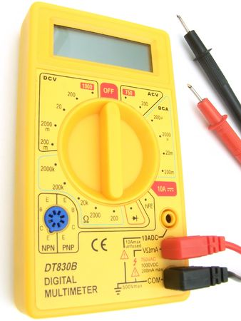 A yellow multimeter with corresponding probes