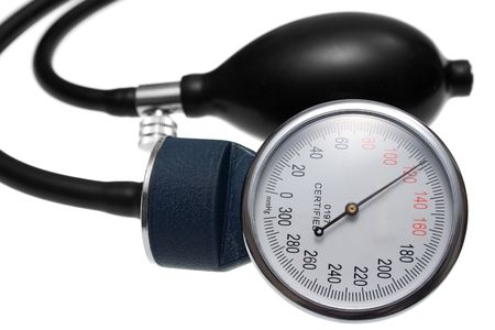 Pressure Gauge and Air Pump. Parts of a pressure measuring device used in medicine. Isolated on white. Stock Photo