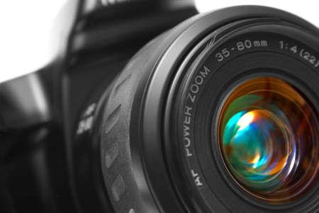 Macro shot of a black photographic cameras lens