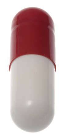 Close Up of generic pharmacological red and white pill Stock Photo - 3335744