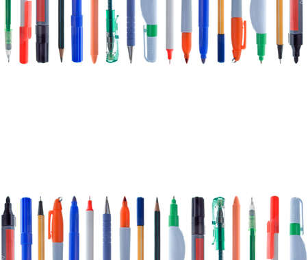 writing instruments: Different writing instruments in alingment. Isolated on white. White space at the center.