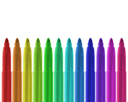 Different colors of markers in ordered alignment. Isolated on White. White space at the top.