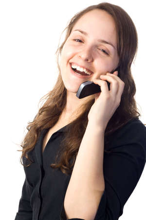 Woman on a black shirt talking on a cellphone. White background.