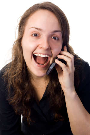 Woman receiving a surpring phone call. White background.