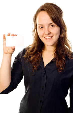 Beautiful executive girl holding a white card with her right hand. White background.