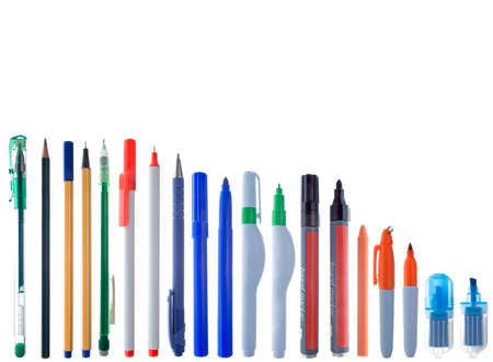 writing instrument: Different writing instruments in alingment. Isolated on white. White space at the top.