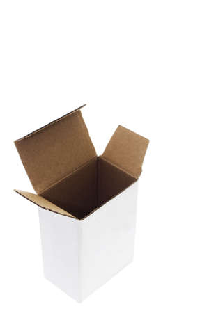 Open carboard box. Isometric View. Isolated on White. Stock Photo