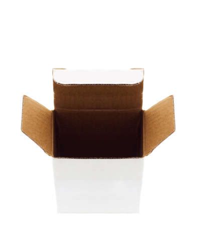 Open carboard box. Front View. Isolated on White.