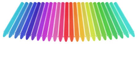 Diferently colored crayons aligned. Isolated on White. White space at the bottom. Focus at the front. Stock Photo