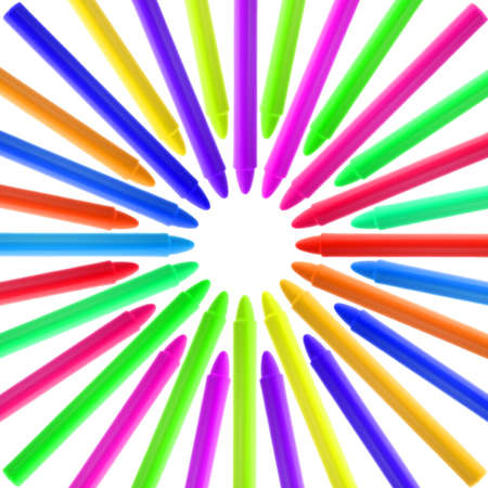 Crayons of different colors aligned like a circle. Isolated on White. White space at the center. Stock Photo