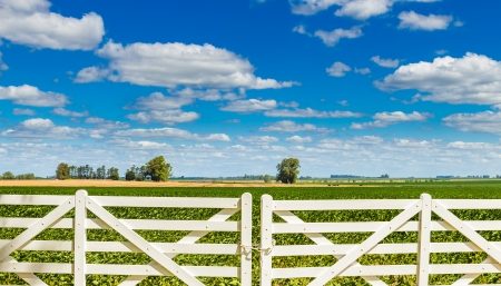 A white picket fence in front of a beautiful farmland on a sunny day Stock Photo