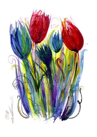 aquarelle painting art: Tulips in red and blue