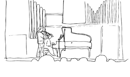 Music Hall with Piano and violin Stock Vector - 13550058
