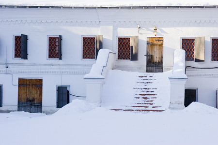 single dwellings: Windows on a white wall and a ladder in the snow