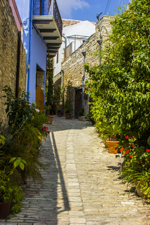 stone windows and walls in the village of Lefkara in Cyprus Stock Photo