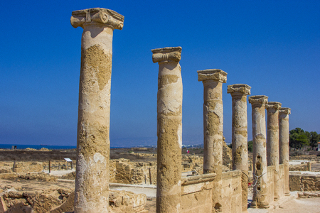 roman pillar: stone ancient Greek columns discovered during excavations of the ancient Greek city of Cyprus in Paphos