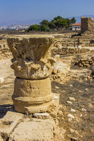 capitals of columns discovered during excavations of the ancient Greek city of Cyprus in Paphos