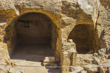 entrance to the catacombs discovered during excavations of the ancient Greek city of Cyprus in Paphos