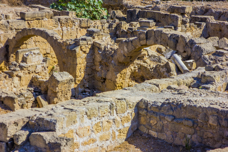 Antique arches discovered during excavations of the ancient Greek city of Cyprus in Paphos Stock fotó