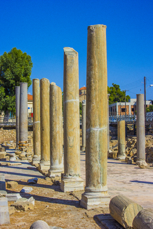 roman pillar: ancient columns discovered during excavations of the ancient Greek city of Cyprus in Paphos