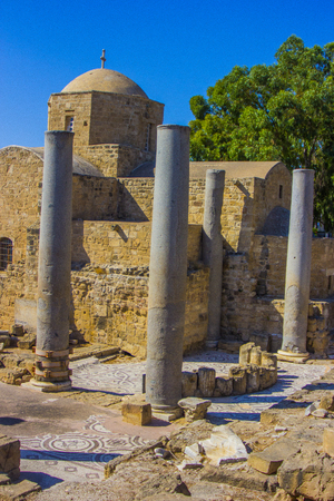 ancient columns discovered during excavations of the ancient Greek city of Cyprus in Paphos