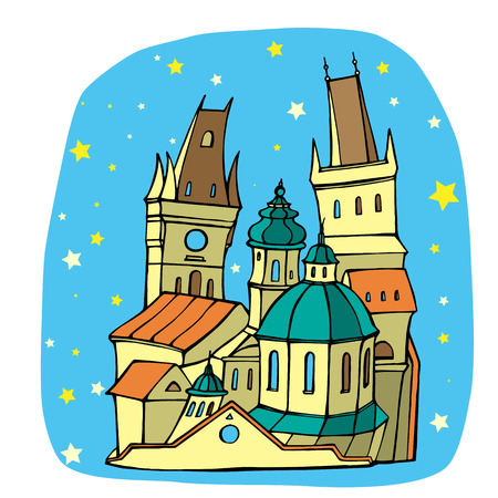 Illustration of the architectural monuments of Prague.