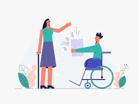 Happy handicapped couple are listening music flat vector illustration. Disabled people relationship concept, young character with disability, communicate and friendship.Trendy drawing isolated white