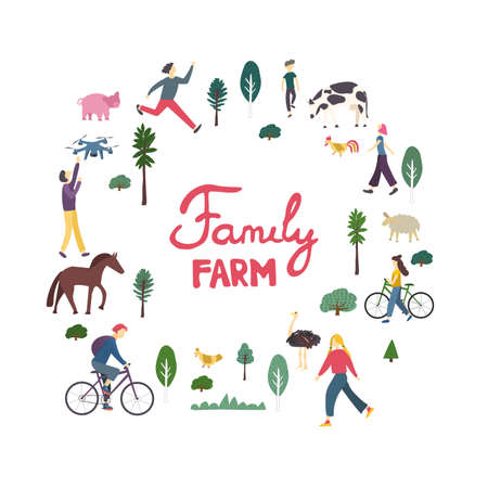 Outdoor activity character set doodle drawing. Family Farm lettering in hand drawn frame. Sports people bundle. Rural landscape, animals cow, pig, sheep, horse, hen, ostrich flat vector illustration