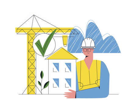 Safety building and engineering concept. Architect near construction flat cartoon vector illustration with character. Protected building permit regulations. Crane constructing house. Isolated on white
